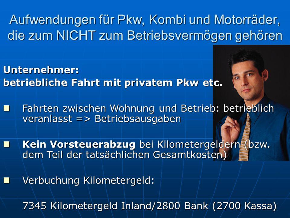 Unternehmer: betriebliche Fahrt mit privatem Pkw etc. Fahrten zwischen Wohnung und Betrieb: betrieblich veranlasst => Betriebsausgaben Fahrten zwische