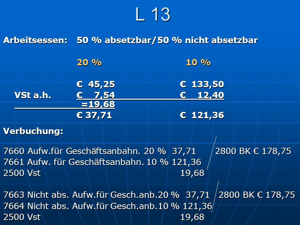L 13 Arbeitsessen:50 % absetzbar/50 % nicht absetzbar 20 % 10 % €45,25€133,50 VSt a.h.€7,54€12,40 =19,68 € 37,71€121,36 Verbuchung: 7660 Aufw.für Gesc