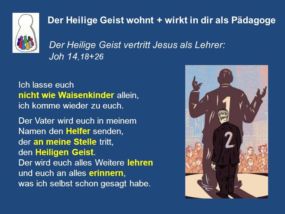 Der Heilige Geist wohnt + wirkt in dir als Pädagoge Der Heilige Geist vertritt Jesus als Lehrer: Joh 14,18 + 26 Ich lasse euch nicht wie Waisenkinder allein, ich komme wieder zu euch.