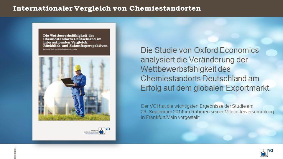Internationaler Vergleich von Chemiestandorten Die Studie von Oxford Economics analysiert die Veränderung der Wettbewerbsfähigkeit des Chemiestandorts Deutschland am Erfolg auf dem globalen Exportmarkt.