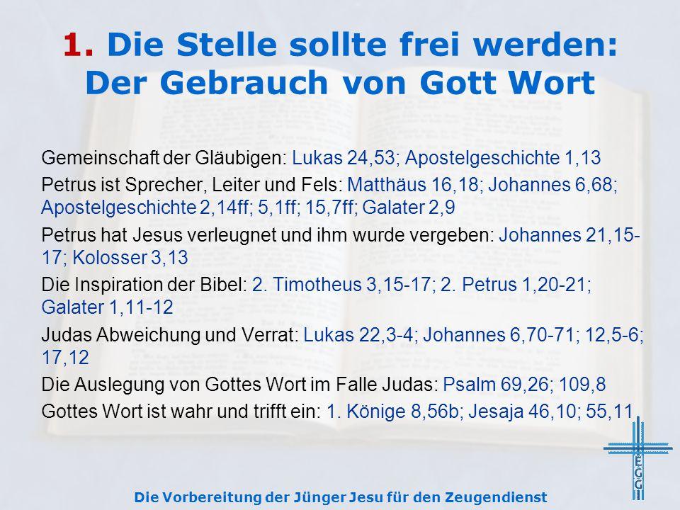 1. Die Stelle sollte frei werden: Der Gebrauch von Gott Wort Gemeinschaft der Gläubigen: Lukas 24,53; Apostelgeschichte 1,13 Petrus ist Sprecher, Leit