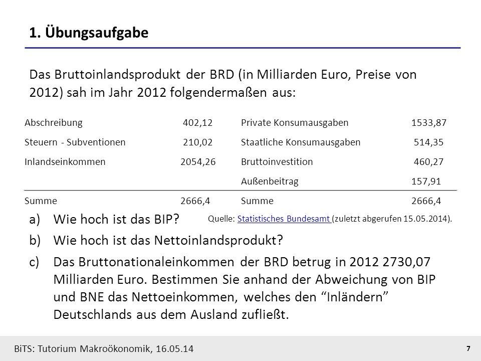 BiTS: Tutorium Makroökonomik, 16.05.14 8 Preisbereinigung: Nominalvergleiche im Zeitablauf (Beispiel: Rohöleinfuhrrechnung Deutschlands)