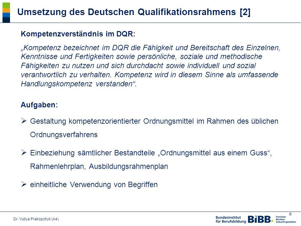 """® Umsetzung des Deutschen Qualifikationsrahmens [2] Kompetenzverständnis im DQR: """"Kompetenz bezeichnet im DQR die Fähigkeit und Bereitschaft des Einzelnen, Kenntnisse und Fertigkeiten sowie persönliche, soziale und methodische Fähigkeiten zu nutzen und sich durchdacht sowie individuell und sozial verantwortlich zu verhalten."""