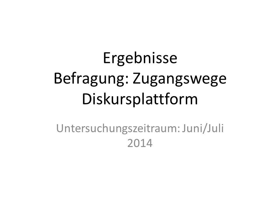 Ergebnisse Befragung: Zugangswege Diskursplattform Untersuchungszeitraum: Juni/Juli 2014