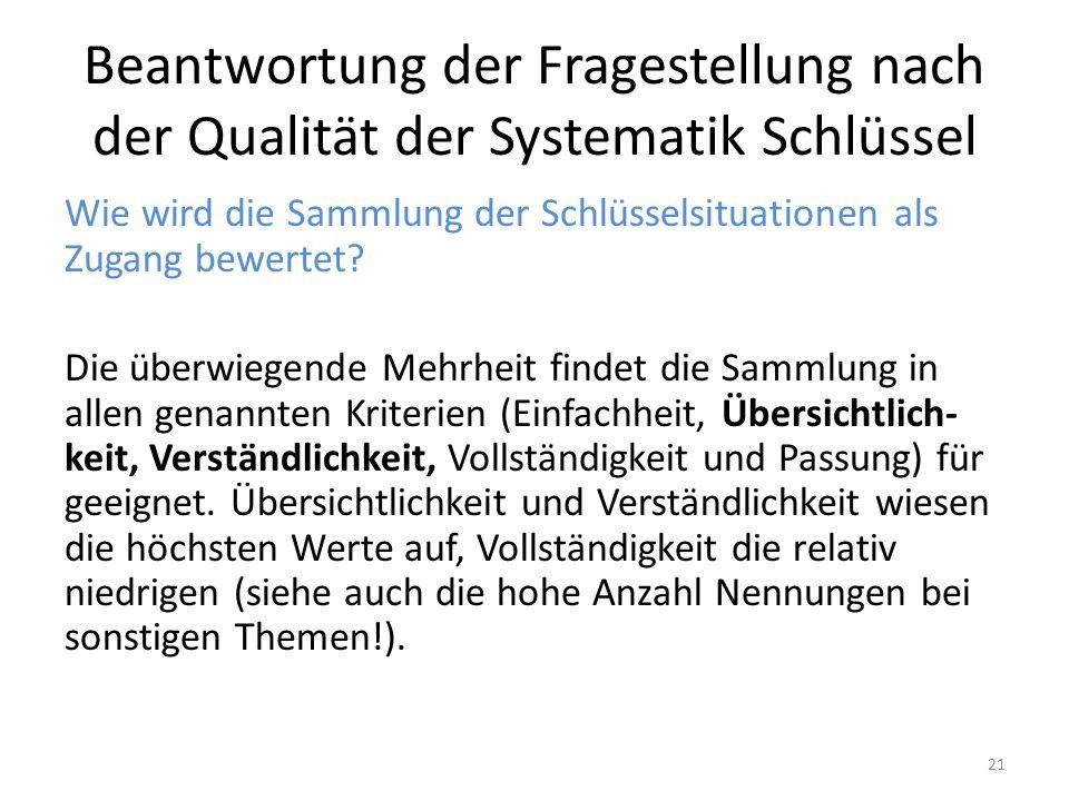 Beantwortung der Fragestellung nach der Qualität der Systematik Schlüssel Wie wird die Sammlung der Schlüsselsituationen als Zugang bewertet.