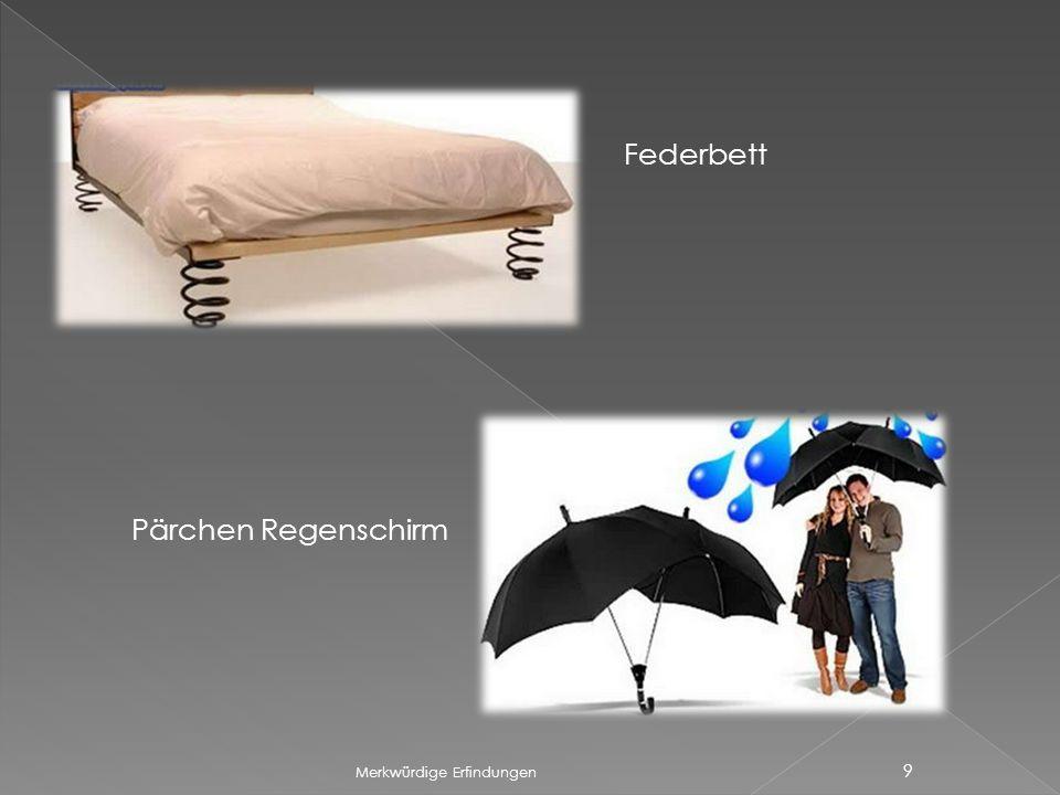 Merkwürdige Erfindungen 9 Federbett Pärchen Regenschirm