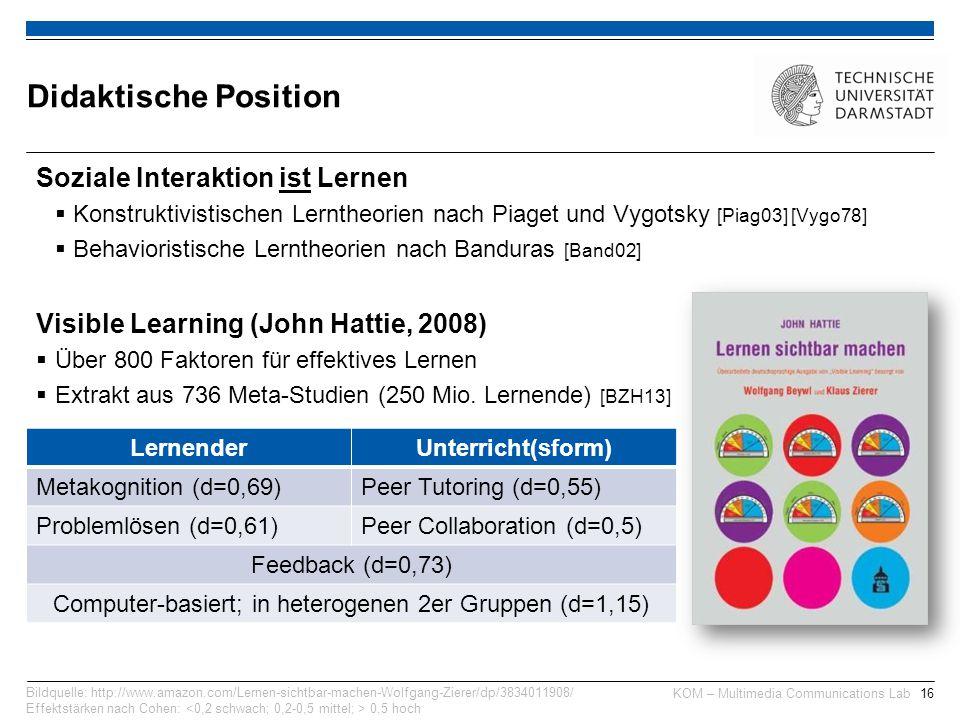 KOM – Multimedia Communications Lab16 Soziale Interaktion ist Lernen  Konstruktivistischen Lerntheorien nach Piaget und Vygotsky [Piag03] [Vygo78]  Behavioristische Lerntheorien nach Banduras [Band02] Visible Learning (John Hattie, 2008)  Über 800 Faktoren für effektives Lernen  Extrakt aus 736 Meta-Studien (250 Mio.