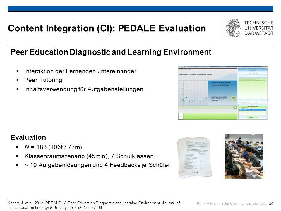 KOM – Multimedia Communications Lab24 Peer Education Diagnostic and Learning Environment  Interaktion der Lernenden untereinander  Peer Tutoring  Inhaltsverwendung für Aufgabenstellungen Evaluation  N = 183 (106f / 77m)  Klassenraumszenario (45min), 7 Schulklassen  ~ 10 Aufgabenlösungen und 4 Feedbacks je Schüler Konert, J.