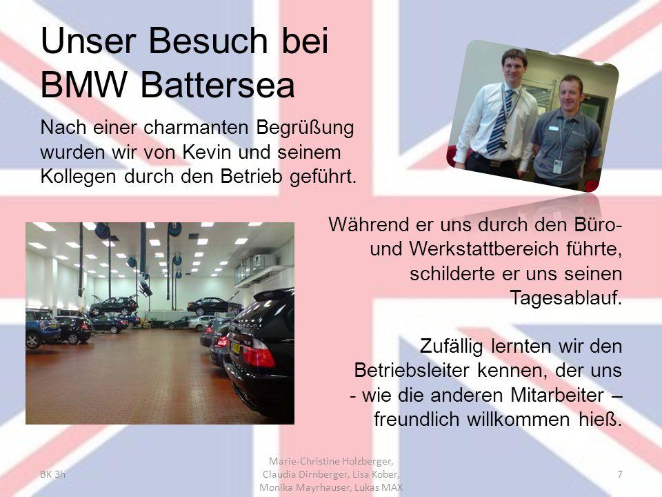 Unser Besuch bei BMW Battersea Nach einer charmanten Begrüßung wurden wir von Kevin und seinem Kollegen durch den Betrieb geführt. Während er uns durc