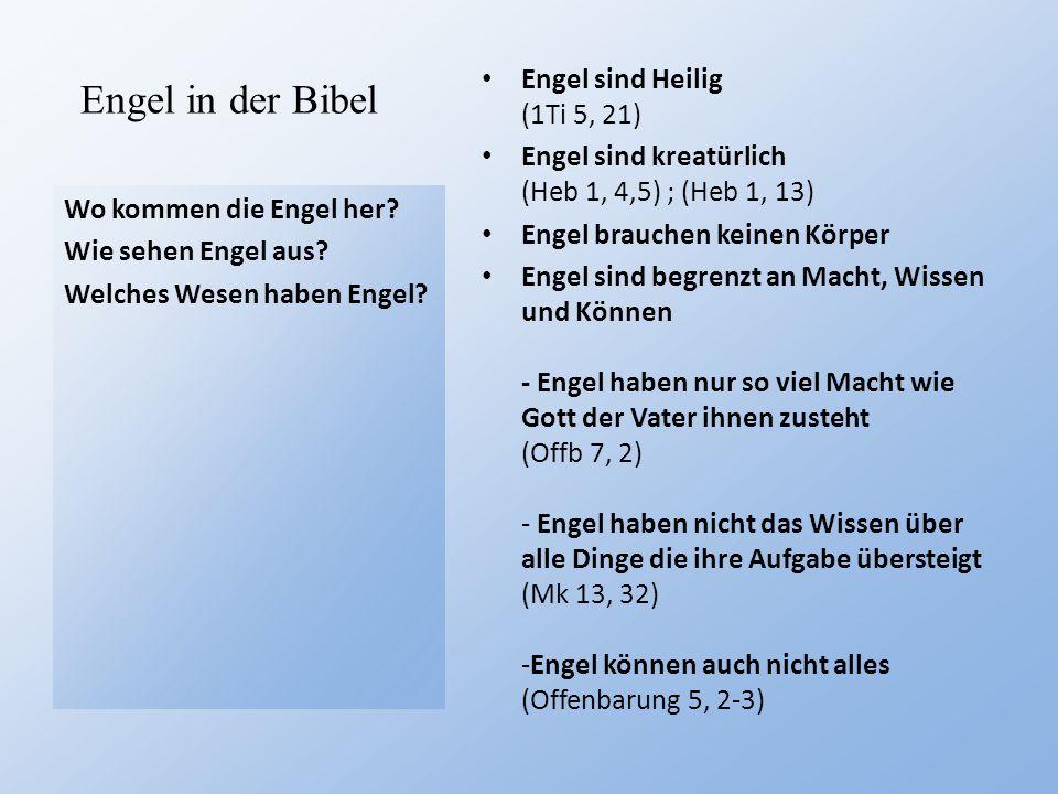 Engel in der Bibel Wo kommen die Engel her? Wie sehen Engel aus? Welches Wesen haben Engel? Engel sind Heilig (1Ti 5, 21) Engel sind kreatürlich (Heb