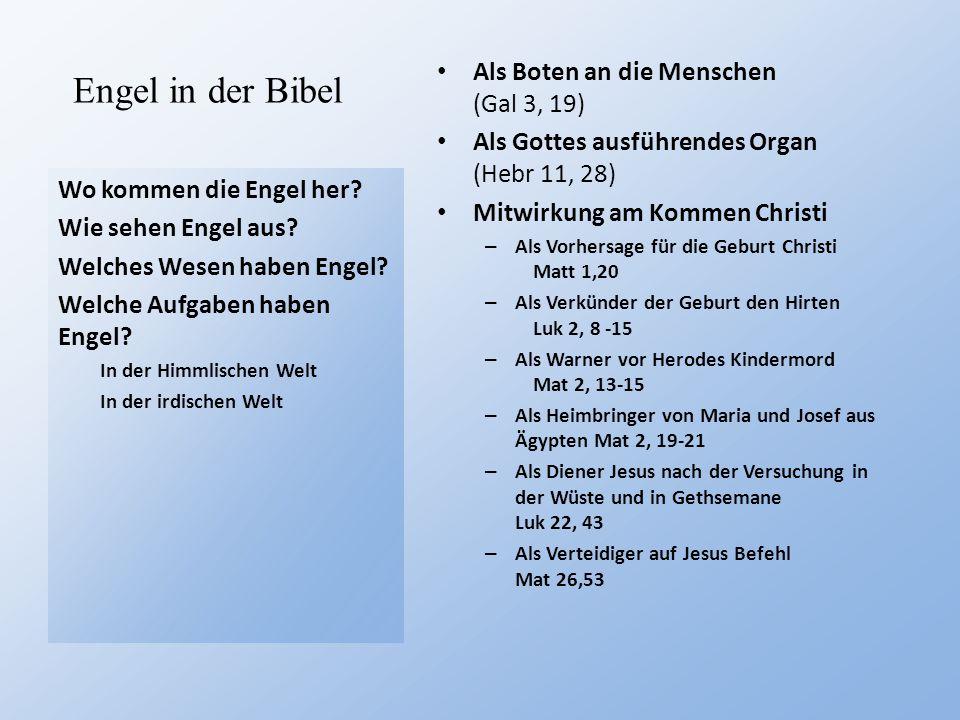 Engel in der Bibel Wo kommen die Engel her? Wie sehen Engel aus? Welches Wesen haben Engel? Welche Aufgaben haben Engel? In der Himmlischen Welt In de