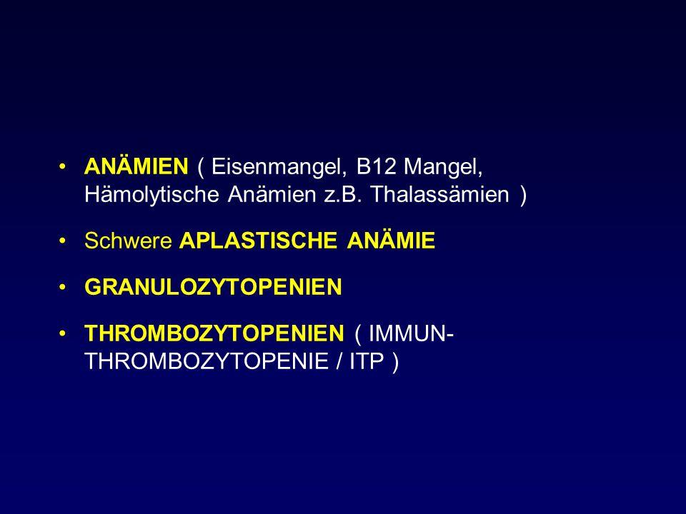 ANÄMIEN ( Eisenmangel, B12 Mangel, Hämolytische Anämien z.B. Thalassämien ) Schwere APLASTISCHE ANÄMIE GRANULOZYTOPENIEN THROMBOZYTOPENIEN ( IMMUN- TH