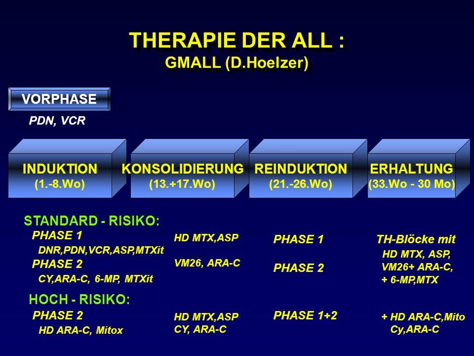 THERAPIE DER ALL : GMALL (D.Hoelzer) VORPHASE INDUKTION (1.-8.Wo) KONSOLIDIERUNG (13.+17.Wo) REINDUKTION (21.-26.Wo) ERHALTUNG (33.Wo - 30 Mo) PDN, VC