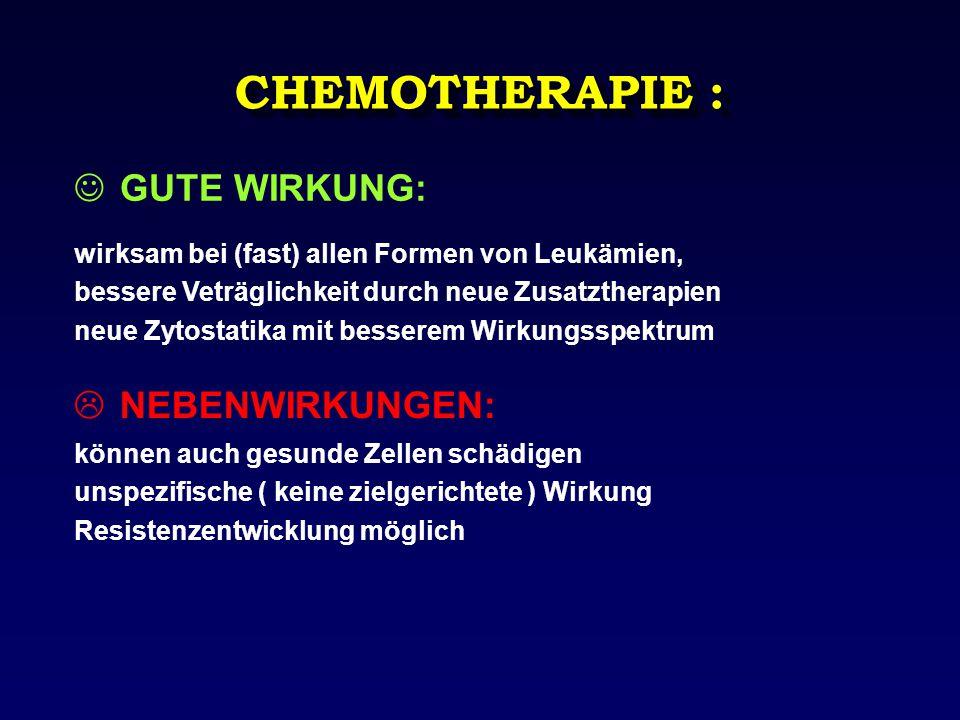 CHEMOTHERAPIE : GUTE WIRKUNG: wirksam bei (fast) allen Formen von Leukämien, bessere Veträglichkeit durch neue Zusatztherapien neue Zytostatika mit be