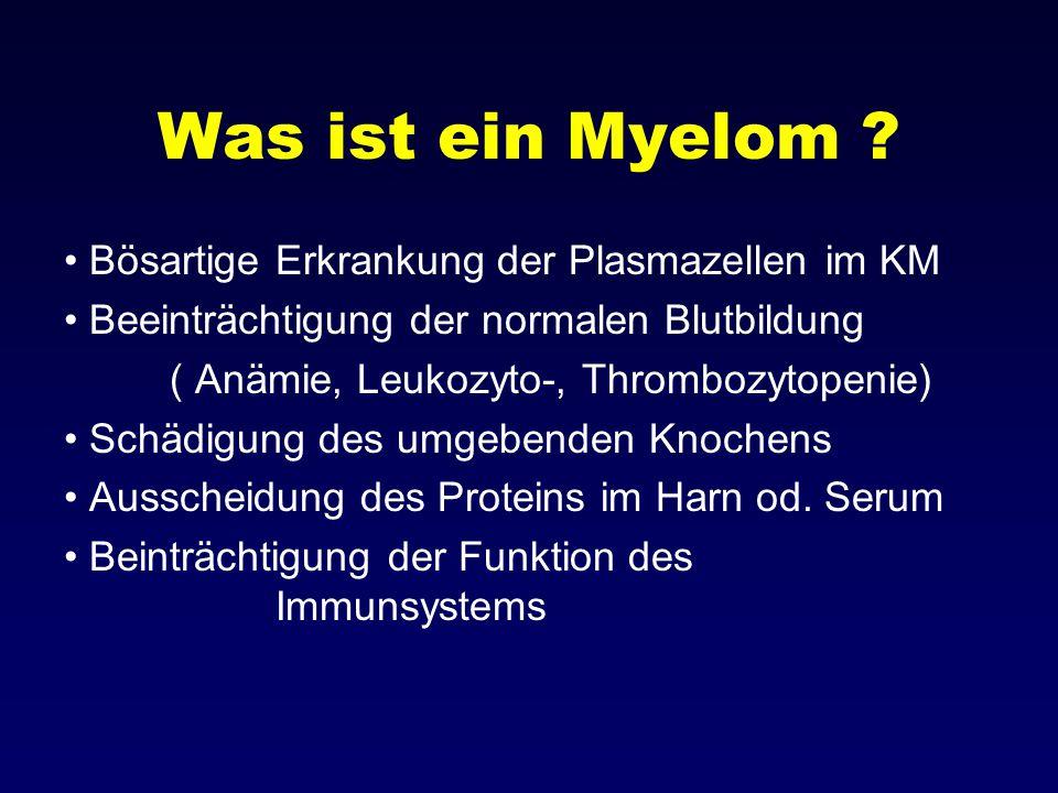 Was ist ein Myelom ? Bösartige Erkrankung der Plasmazellen im KM Beeinträchtigung der normalen Blutbildung ( Anämie, Leukozyto-, Thrombozytopenie) Sch