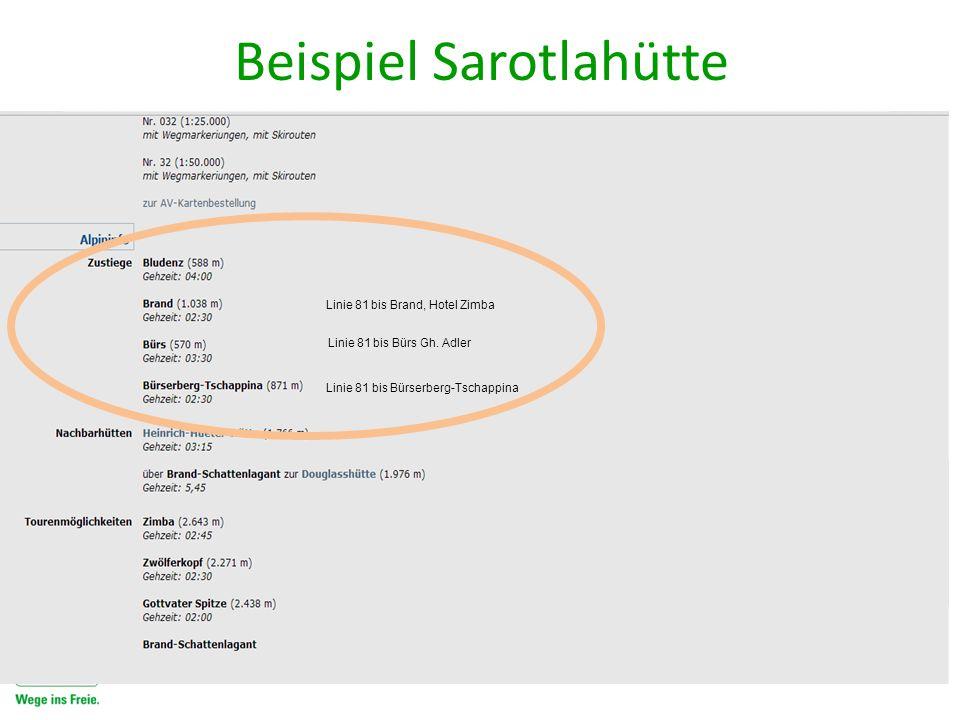 Linie 81 bis Bürserberg-Tschappina Linie 81 bis Bürs Gh. Adler Linie 81 bis Brand, Hotel Zimba