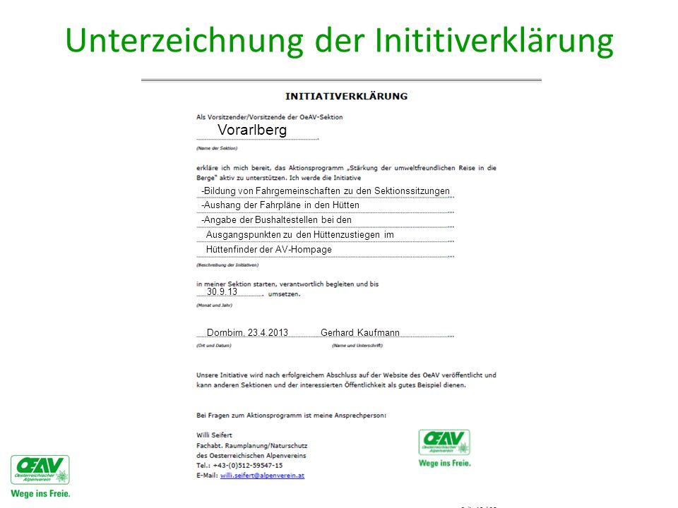 Unterzeichnung der Inititiverklärung Vorarlberg -Aushang der Fahrpläne in den Hütten -Bildung von Fahrgemeinschaften zu den Sektionssitzungen -Angabe der Bushaltestellen bei den Ausgangspunkten zu den Hüttenzustiegen im Hüttenfinder der AV-Hompage 30.9.13 Dornbirn, 23.4.2013 Gerhard Kaufmann