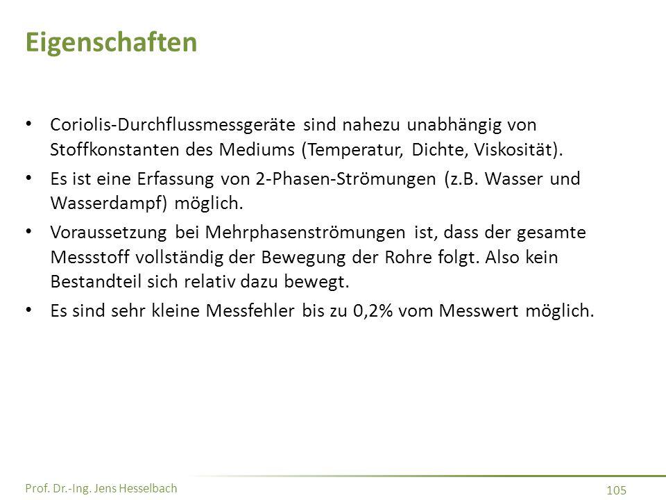 Prof. Dr.-Ing. Jens Hesselbach 105 Eigenschaften Coriolis-Durchflussmessgeräte sind nahezu unabhängig von Stoffkonstanten des Mediums (Temperatur, Dic