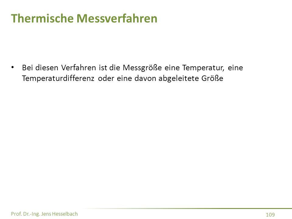 Prof. Dr.-Ing. Jens Hesselbach 109 Thermische Messverfahren Bei diesen Verfahren ist die Messgröße eine Temperatur, eine Temperaturdifferenz oder eine