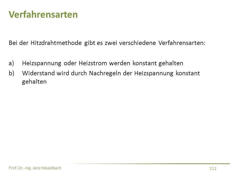Prof. Dr.-Ing. Jens Hesselbach 112 Verfahrensarten Bei der Hitzdrahtmethode gibt es zwei verschiedene Verfahrensarten: a)Heizspannung oder Heizstrom w
