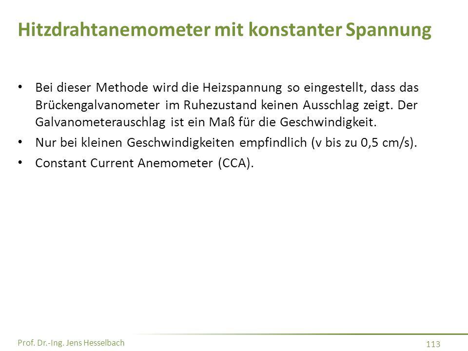 Prof. Dr.-Ing. Jens Hesselbach 113 Hitzdrahtanemometer mit konstanter Spannung Bei dieser Methode wird die Heizspannung so eingestellt, dass das Brück