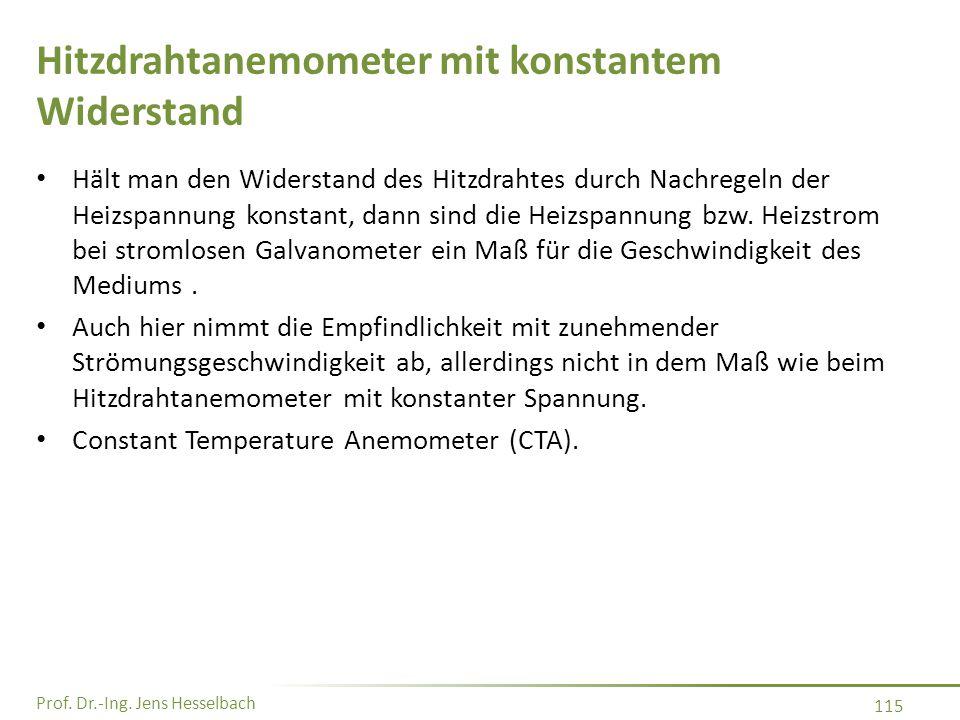 Prof. Dr.-Ing. Jens Hesselbach 115 Hitzdrahtanemometer mit konstantem Widerstand Hält man den Widerstand des Hitzdrahtes durch Nachregeln der Heizspan