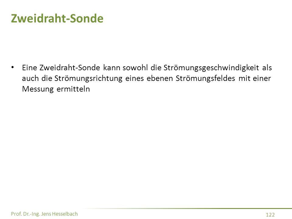 Prof. Dr.-Ing. Jens Hesselbach 122 Zweidraht-Sonde Eine Zweidraht-Sonde kann sowohl die Strömungsgeschwindigkeit als auch die Strömungsrichtung eines