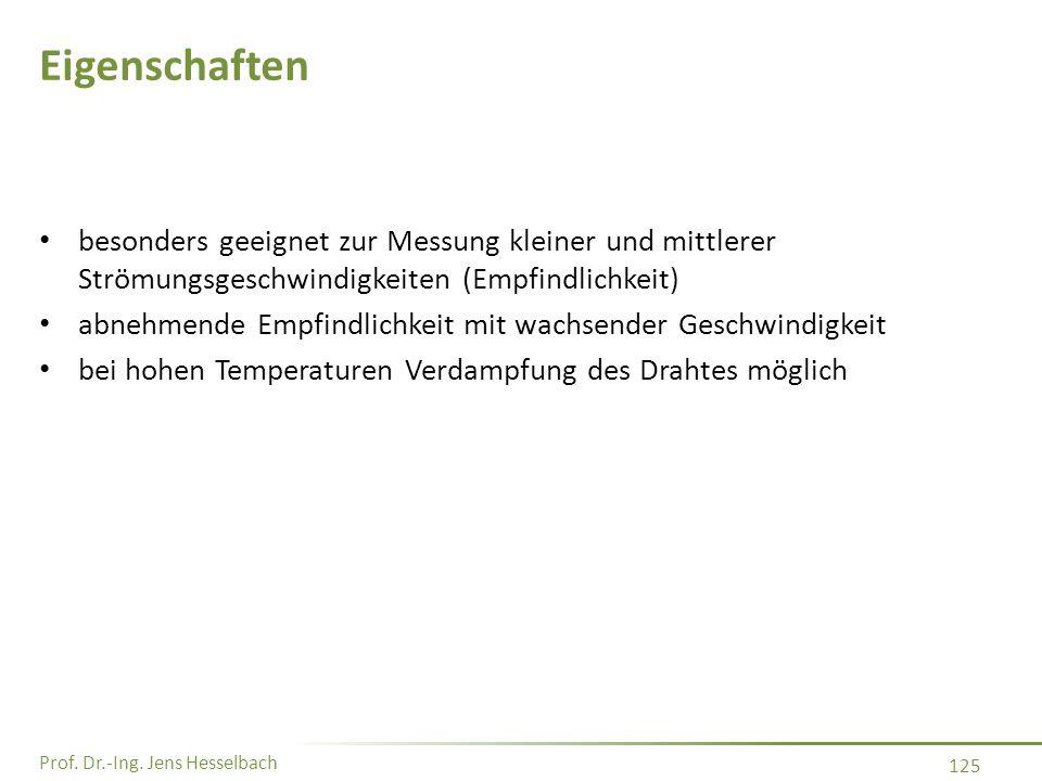 Prof. Dr.-Ing. Jens Hesselbach 125 Eigenschaften besonders geeignet zur Messung kleiner und mittlerer Strömungsgeschwindigkeiten (Empfindlichkeit) abn
