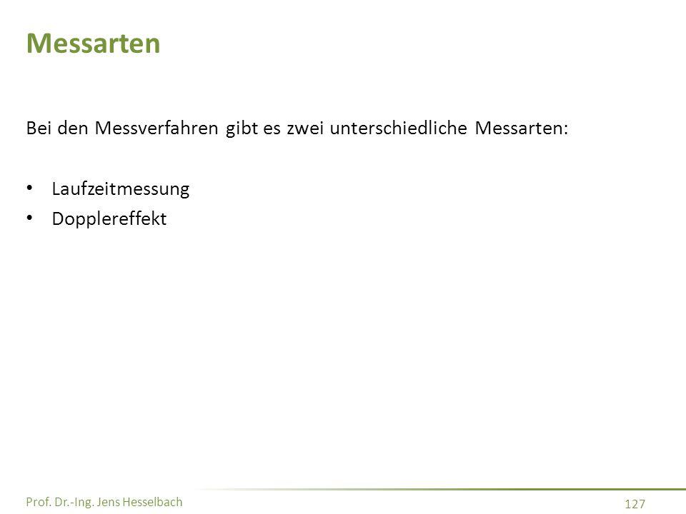 Prof. Dr.-Ing. Jens Hesselbach 127 Messarten Bei den Messverfahren gibt es zwei unterschiedliche Messarten: Laufzeitmessung Dopplereffekt