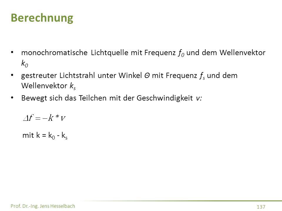 Prof. Dr.-Ing. Jens Hesselbach 137 Berechnung monochromatische Lichtquelle mit Frequenz f 0 und dem Wellenvektor k 0 gestreuter Lichtstrahl unter Wink