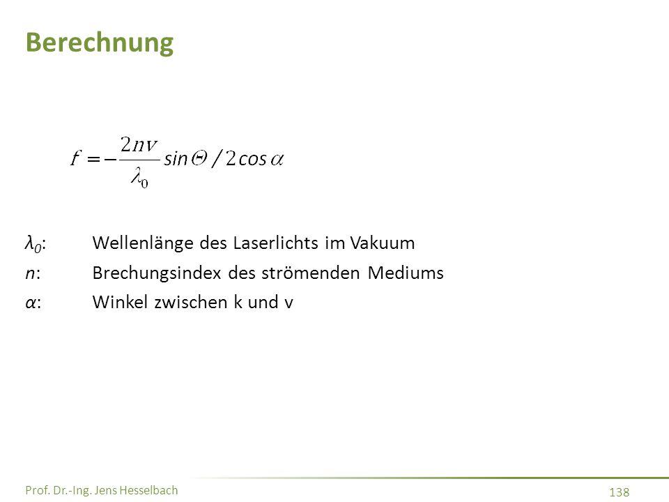 Prof. Dr.-Ing. Jens Hesselbach 138 Berechnung λ 0 :Wellenlänge des Laserlichts im Vakuum n:Brechungsindex des strömenden Mediums α:Winkel zwischen k u