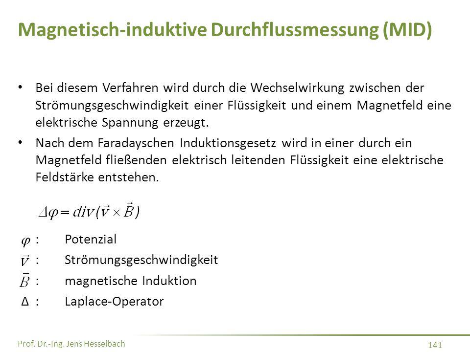 Prof. Dr.-Ing. Jens Hesselbach 141 Magnetisch-induktive Durchflussmessung (MID) Bei diesem Verfahren wird durch die Wechselwirkung zwischen der Strömu