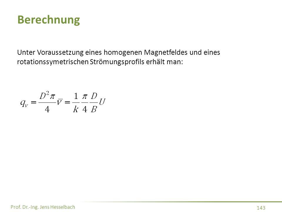 Prof. Dr.-Ing. Jens Hesselbach 143 Berechnung Unter Voraussetzung eines homogenen Magnetfeldes und eines rotationssymetrischen Strömungsprofils erhält