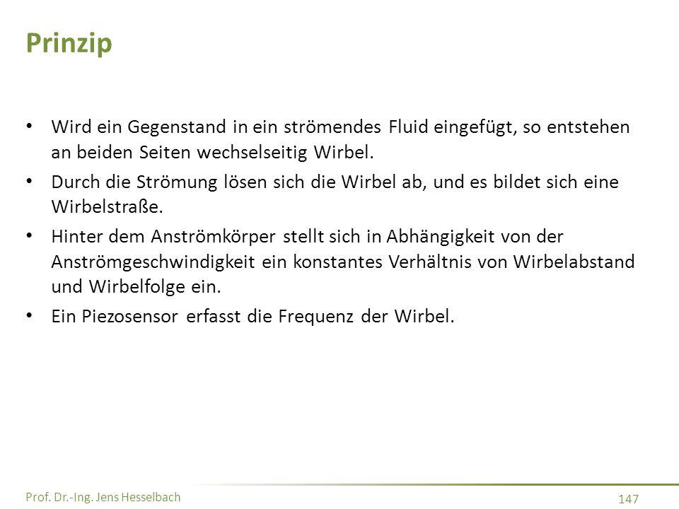 Prof. Dr.-Ing. Jens Hesselbach 147 Prinzip Wird ein Gegenstand in ein strömendes Fluid eingefügt, so entstehen an beiden Seiten wechselseitig Wirbel.