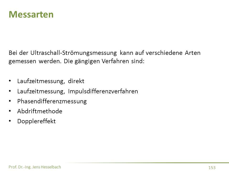 Prof. Dr.-Ing. Jens Hesselbach 153 Messarten Bei der Ultraschall-Strömungsmessung kann auf verschiedene Arten gemessen werden. Die gängigen Verfahren