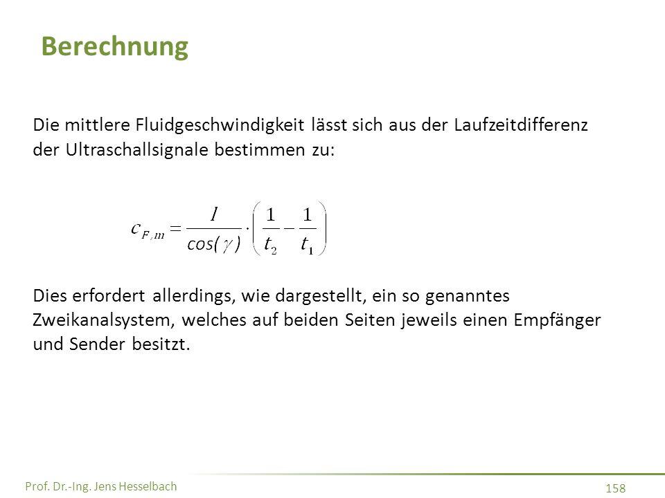 Prof. Dr.-Ing. Jens Hesselbach 158 Berechnung Die mittlere Fluidgeschwindigkeit lässt sich aus der Laufzeitdifferenz der Ultraschallsignale bestimmen