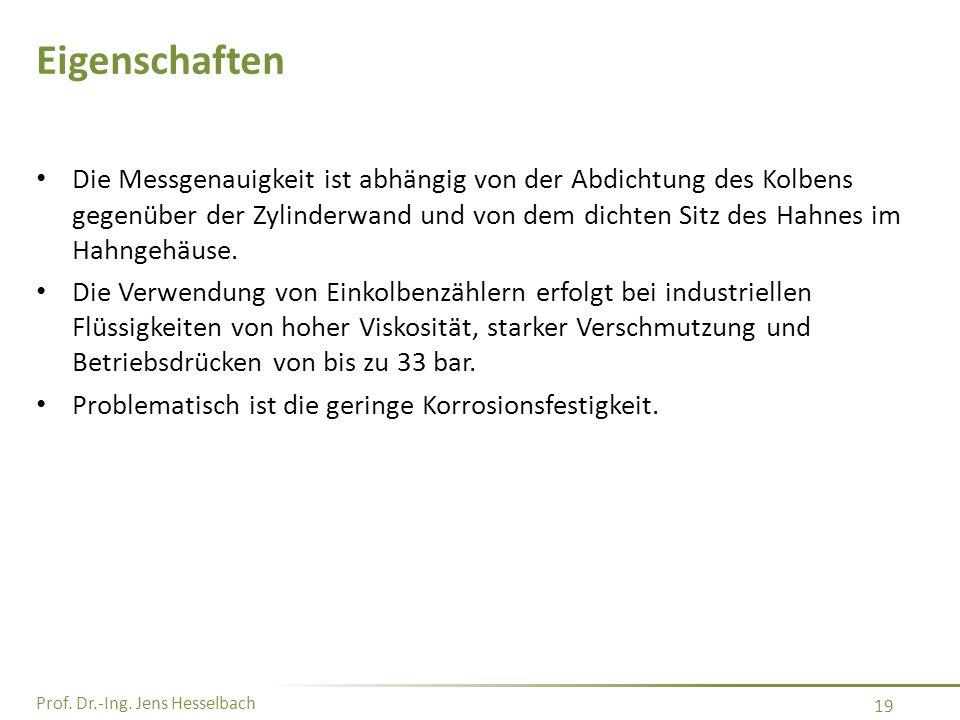 Prof. Dr.-Ing. Jens Hesselbach 19 Eigenschaften Die Messgenauigkeit ist abhängig von der Abdichtung des Kolbens gegenüber der Zylinderwand und von dem