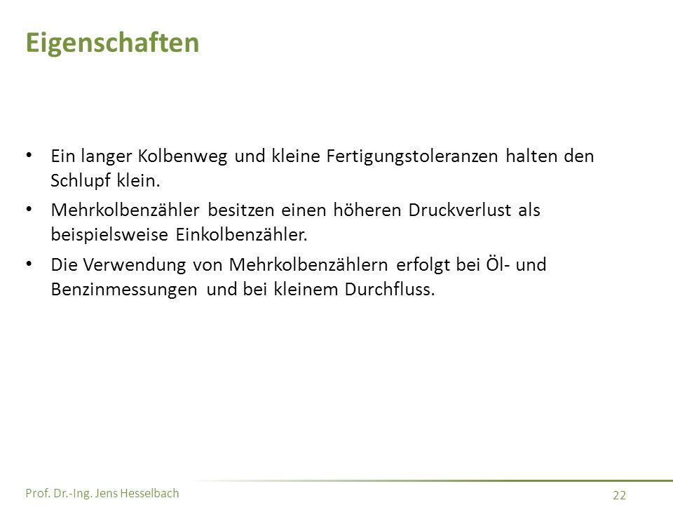Prof. Dr.-Ing. Jens Hesselbach 22 Eigenschaften Ein langer Kolbenweg und kleine Fertigungstoleranzen halten den Schlupf klein. Mehrkolbenzähler besitz
