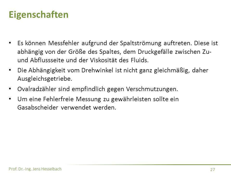 Prof. Dr.-Ing. Jens Hesselbach 27 Eigenschaften Es können Messfehler aufgrund der Spaltströmung auftreten. Diese ist abhängig von der Größe des Spalte