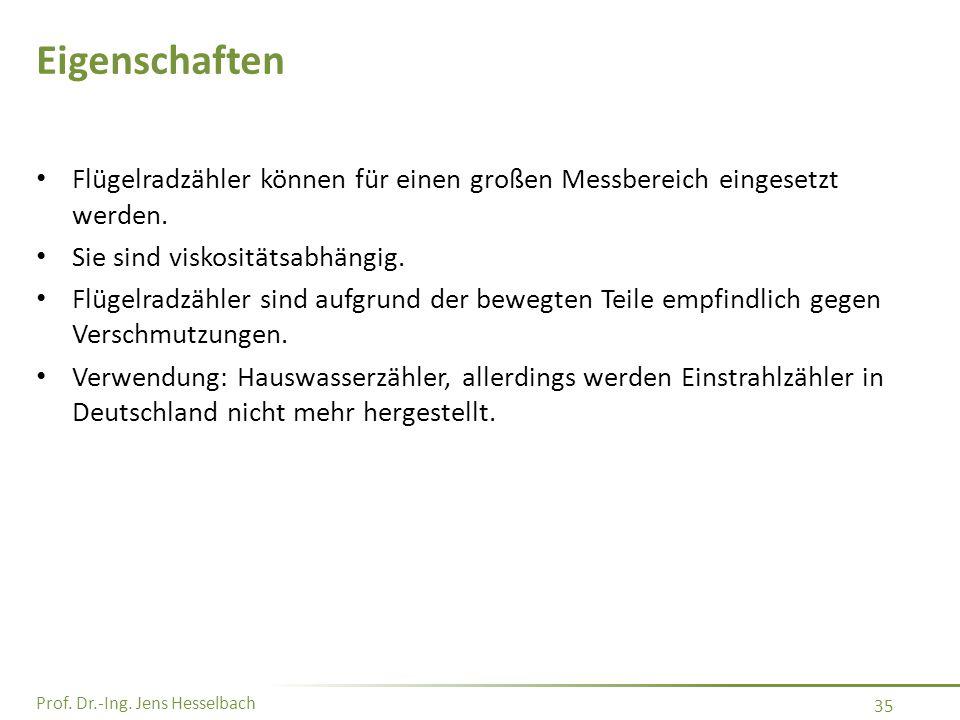 Prof. Dr.-Ing. Jens Hesselbach 35 Eigenschaften Flügelradzähler können für einen großen Messbereich eingesetzt werden. Sie sind viskositätsabhängig. F