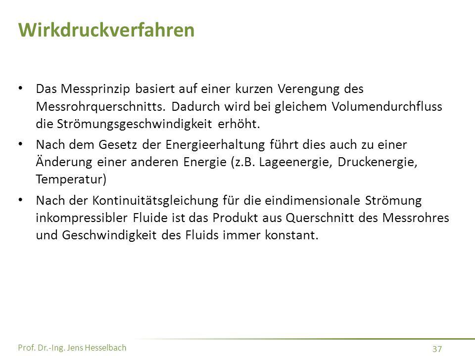 Prof. Dr.-Ing. Jens Hesselbach 37 Wirkdruckverfahren Das Messprinzip basiert auf einer kurzen Verengung des Messrohrquerschnitts. Dadurch wird bei gle