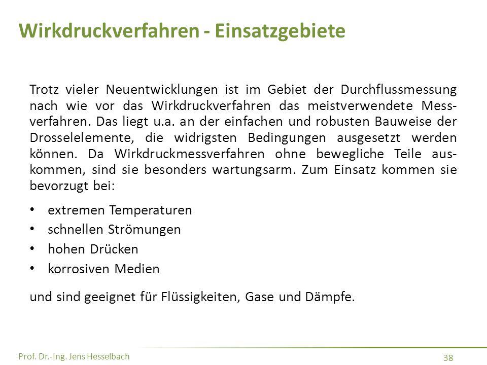 Prof. Dr.-Ing. Jens Hesselbach 38 Wirkdruckverfahren - Einsatzgebiete Trotz vieler Neuentwicklungen ist im Gebiet der Durchflussmessung nach wie vor d
