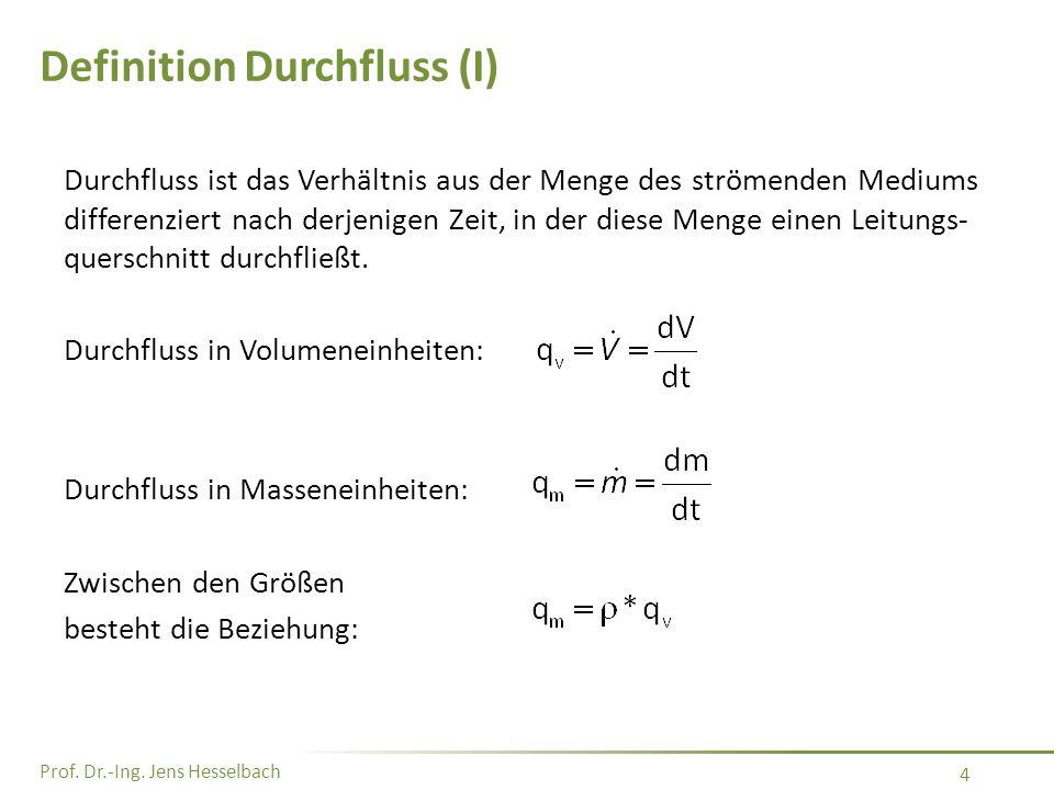 Prof. Dr.-Ing. Jens Hesselbach 4 Definition Durchfluss (I) Durchfluss ist das Verhältnis aus der Menge des strömenden Mediums differenziert nach derje