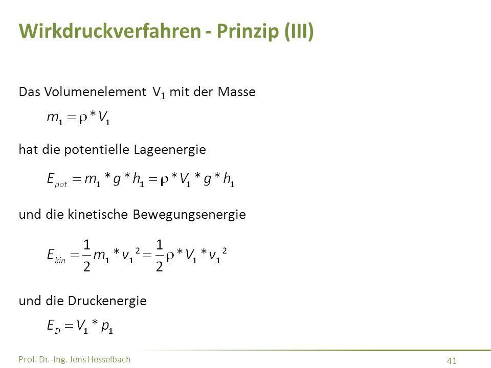 Prof. Dr.-Ing. Jens Hesselbach 41 Wirkdruckverfahren - Prinzip (III) Das Volumenelement V 1 mit der Masse hat die potentielle Lageenergie und die kine