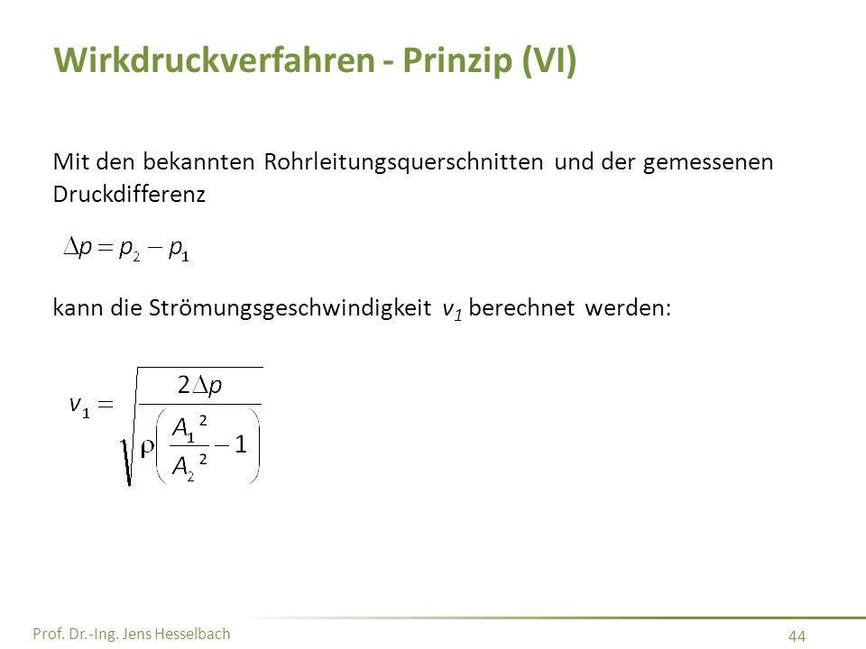 Prof. Dr.-Ing. Jens Hesselbach 44 Wirkdruckverfahren - Prinzip (VI) Mit den bekannten Rohrleitungsquerschnitten und der gemessenen Druckdifferenz kann