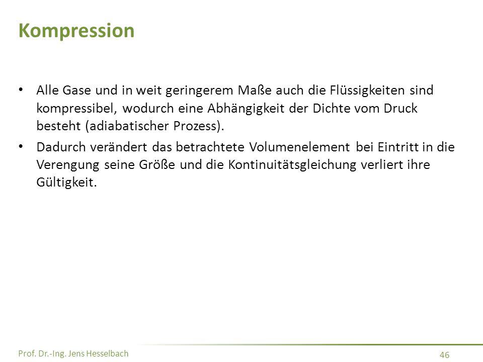 Prof. Dr.-Ing. Jens Hesselbach 46 Kompression Alle Gase und in weit geringerem Maße auch die Flüssigkeiten sind kompressibel, wodurch eine Abhängigkei