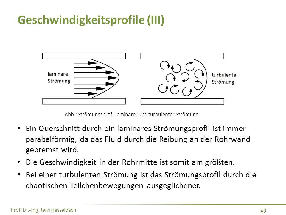 Prof. Dr.-Ing. Jens Hesselbach 49 Geschwindigkeitsprofile (III) Ein Querschnitt durch ein laminares Strömungsprofil ist immer parabelförmig, da das Fl