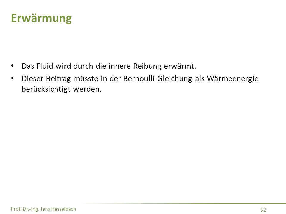 Prof. Dr.-Ing. Jens Hesselbach 52 Erwärmung Das Fluid wird durch die innere Reibung erwärmt. Dieser Beitrag müsste in der Bernoulli-Gleichung als Wärm