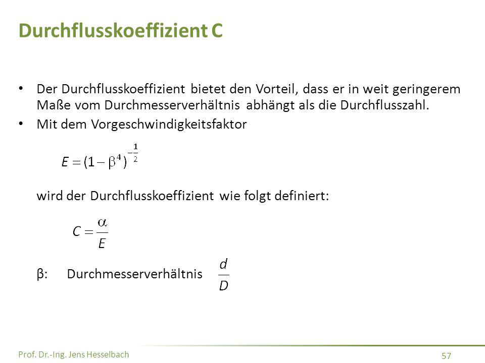 Prof. Dr.-Ing. Jens Hesselbach 57 Durchflusskoeffizient C Der Durchflusskoeffizient bietet den Vorteil, dass er in weit geringerem Maße vom Durchmesse