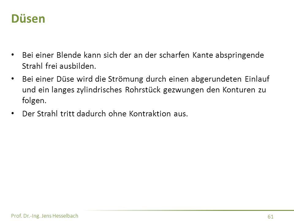 Prof. Dr.-Ing. Jens Hesselbach 61 Düsen Bei einer Blende kann sich der an der scharfen Kante abspringende Strahl frei ausbilden. Bei einer Düse wird d